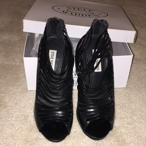 "Steve Madden ""Messy Black"" Caged Stillettos"
